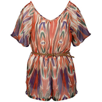 View Item Multi Coloured Belted Playsuit with Cut Out Shoulders and Back